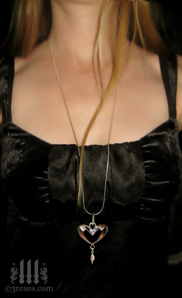"""eros heart necklace 30"""" long snake chain"""