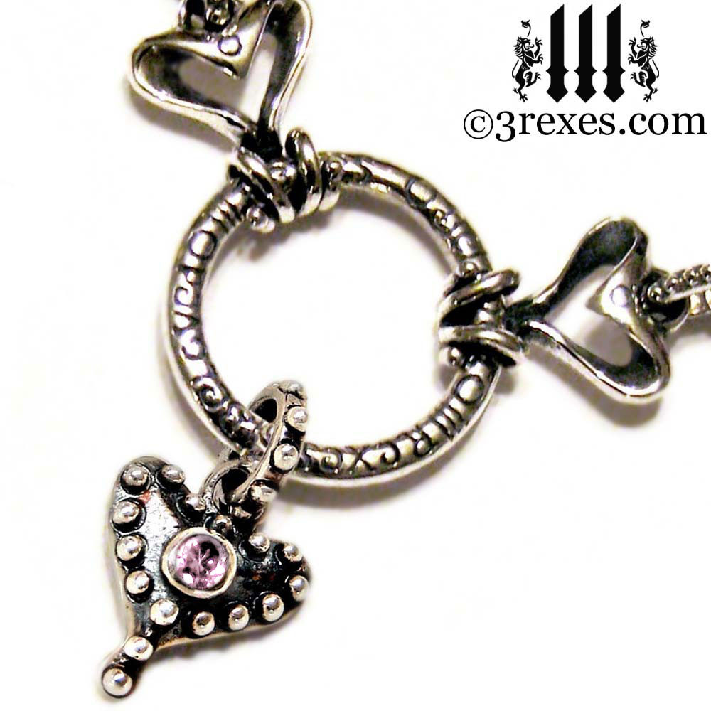 .925 sterling silver fairy tale gothic choker with studded hearts and pink cz stone