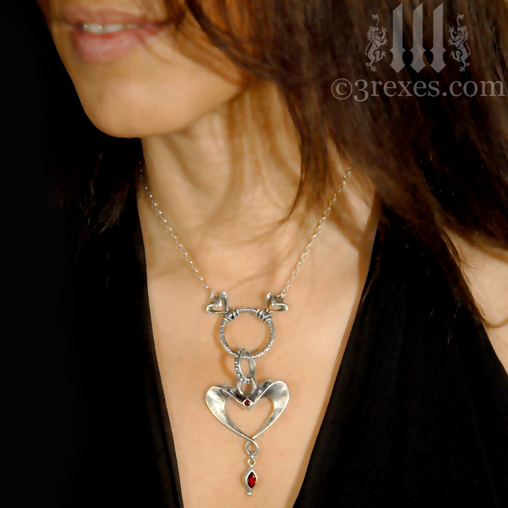 Eros Gothic Heart Silver Necklace