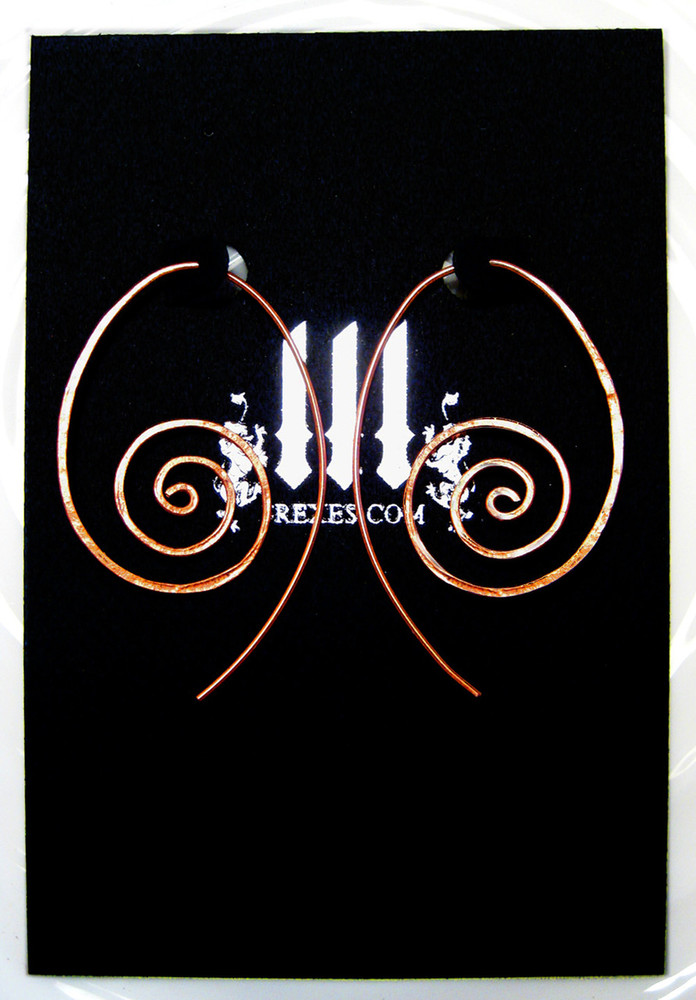 copper spiral earrings on 3 rexes earring card
