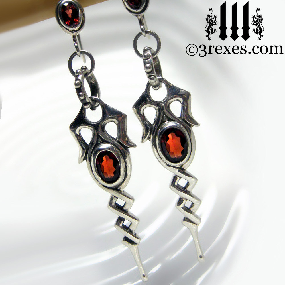 .925 sterling silver dripping celtic earrings with garnets