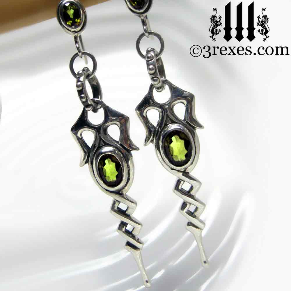 .925 sterling silver dripping celtic earrings with green peridot