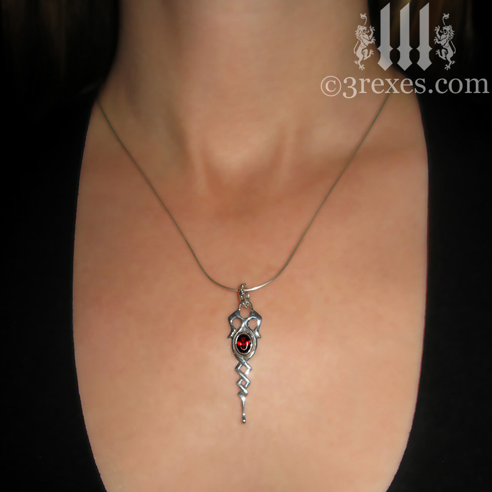 925 sterling silver dripping celtic princess necklace with garnet stone model view