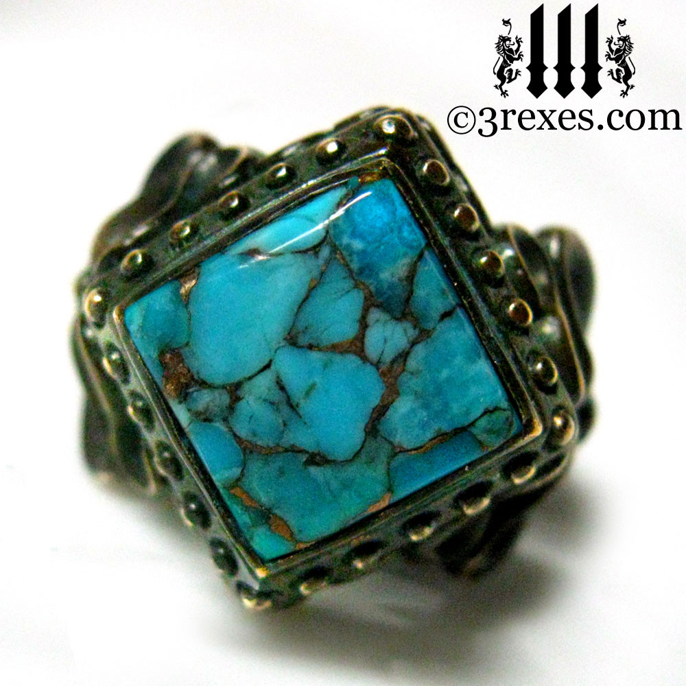 raven love antiqued brass wedding ring with blue copper turquoise