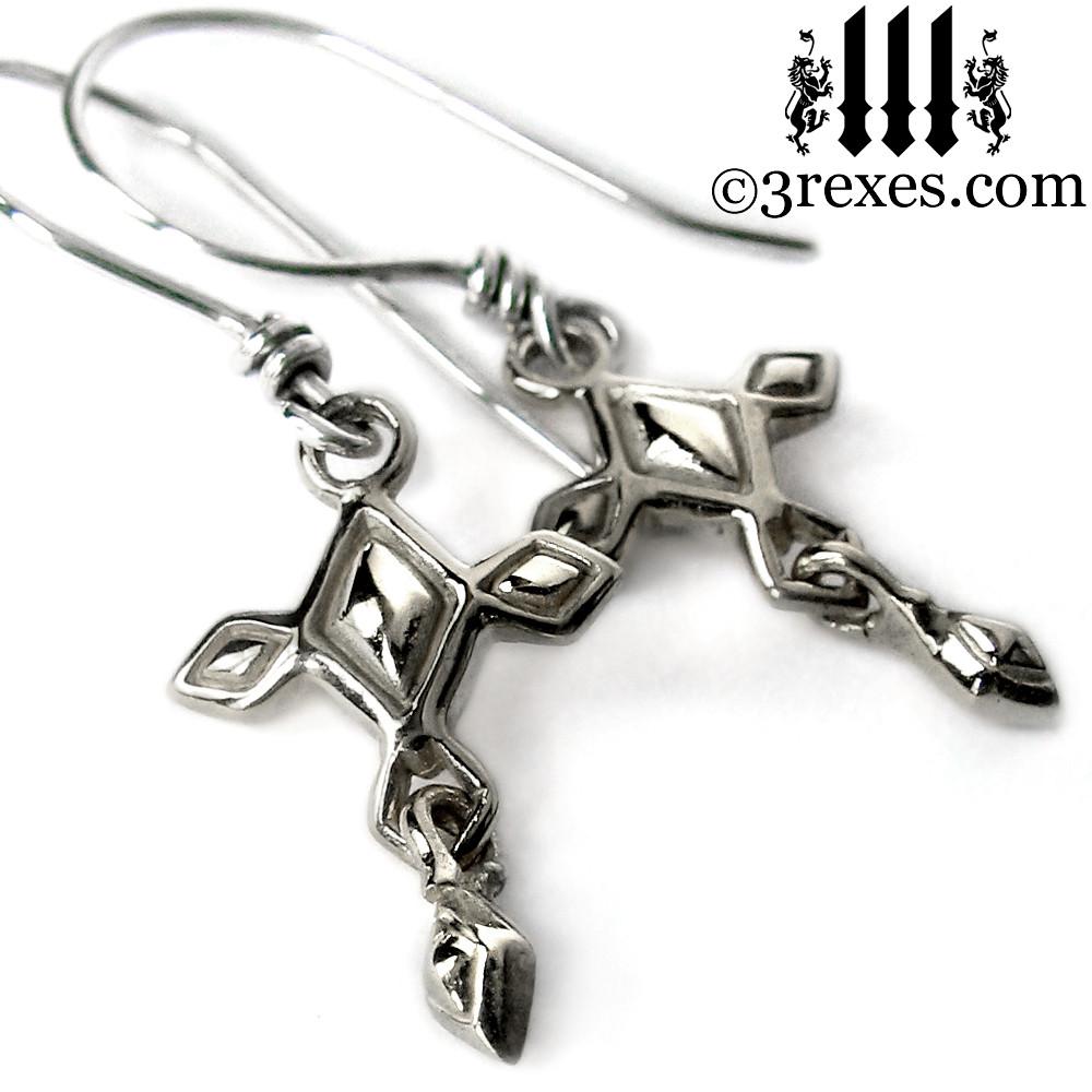 Silver Cross Charm Earrings Mini Renaissance