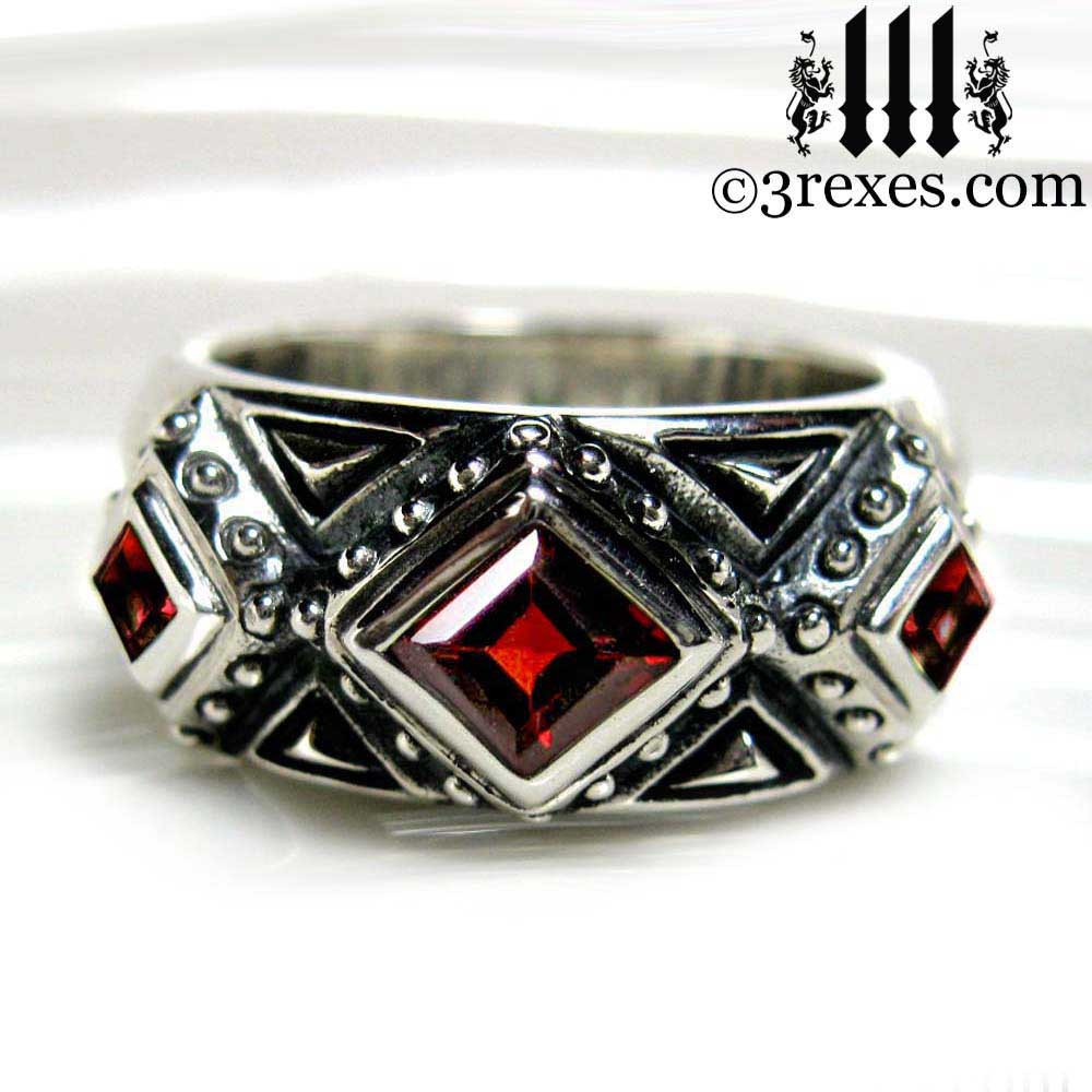 silver gothic wedding ring with garnet stones .925 sterling silver