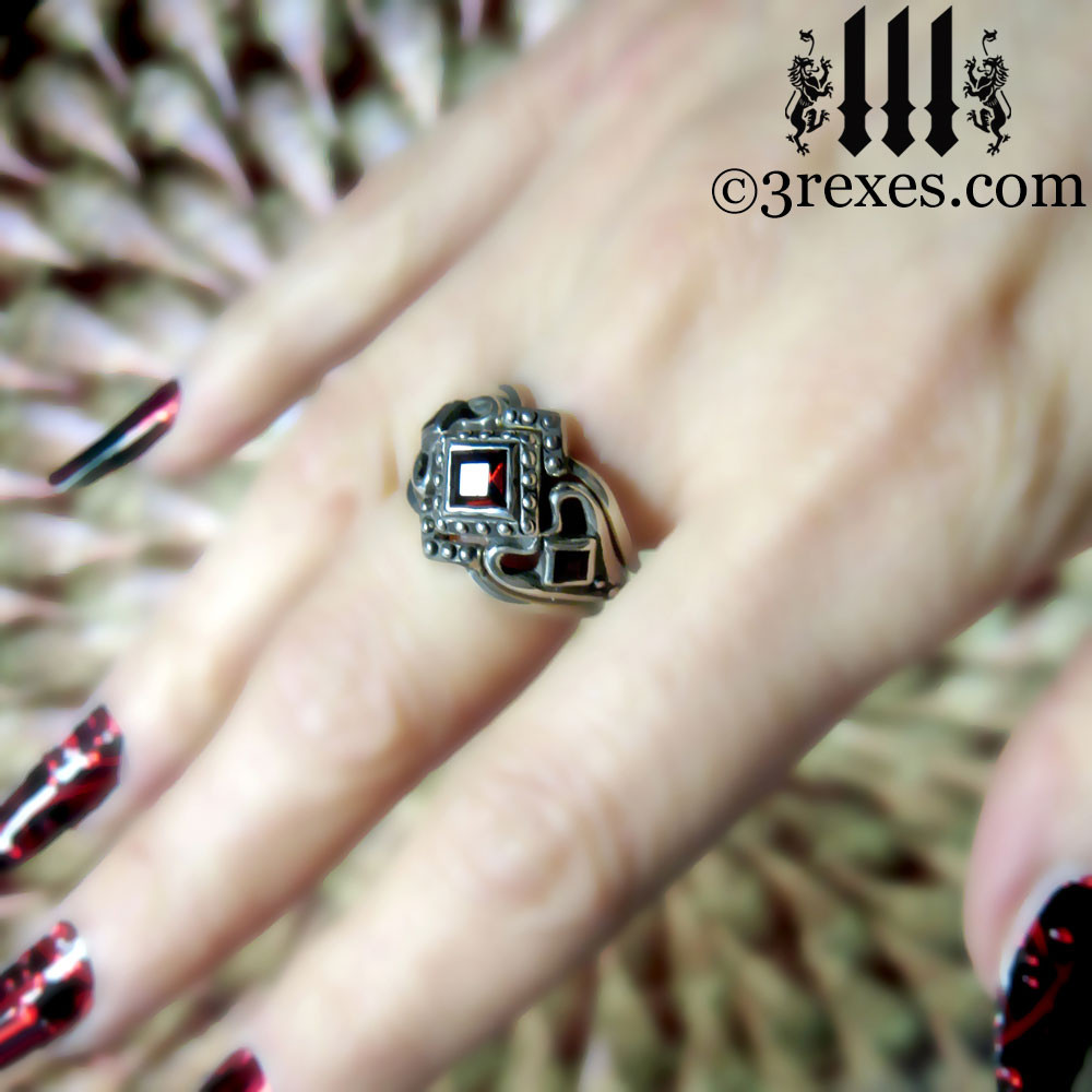 princess love gothic engagement ring with garnet and 2 stacking rings (stacking rings are extra)