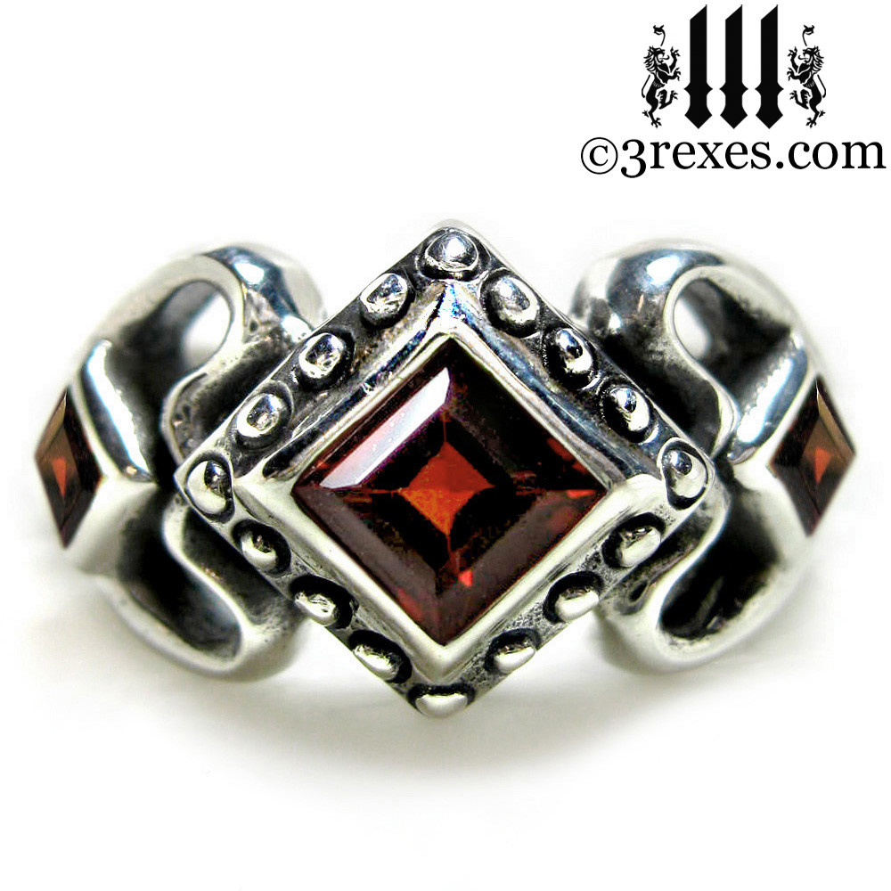 princess love gothic engagement ring with garnet