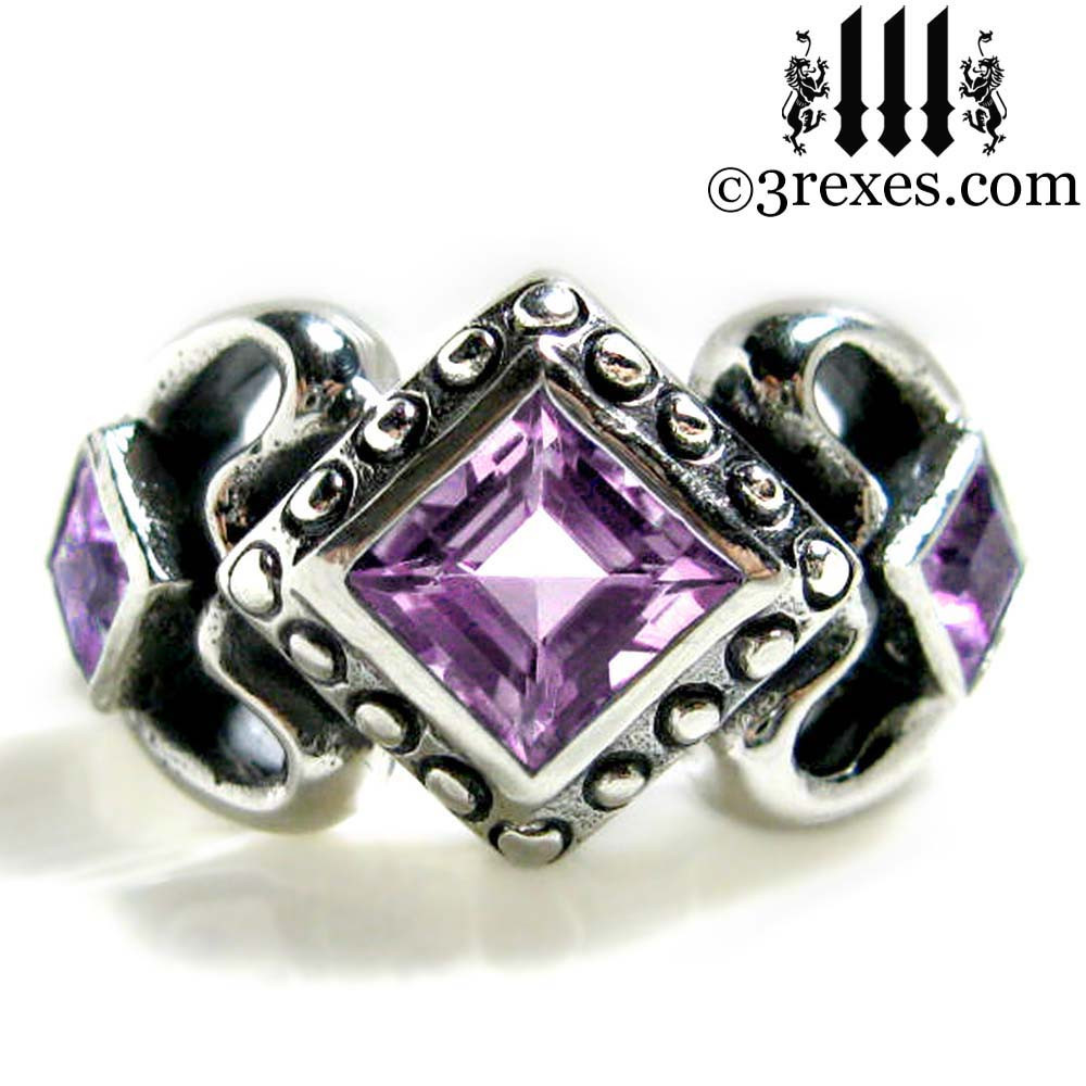 princess love gothic engagement ring with purple amethyst
