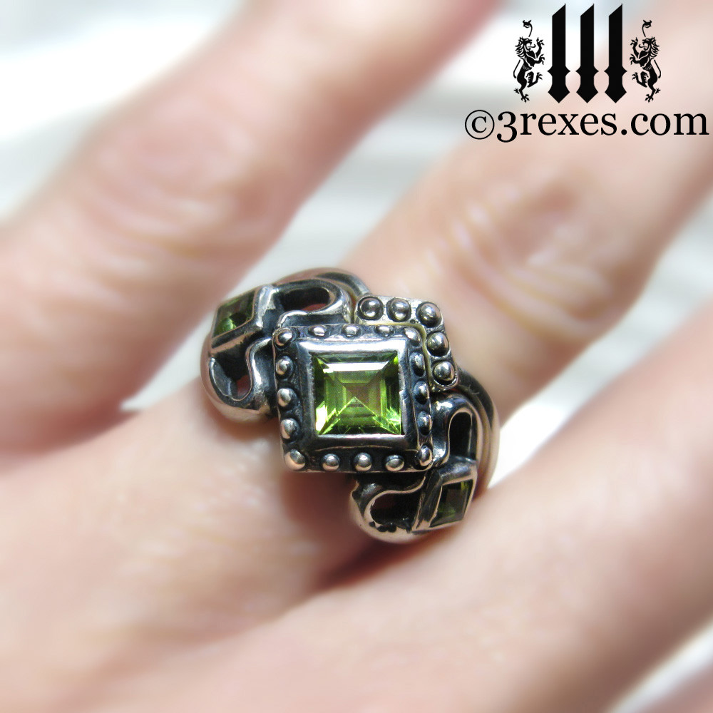 princess love gothic engagement ring with 1 stacking ring (stacking rings are extra)