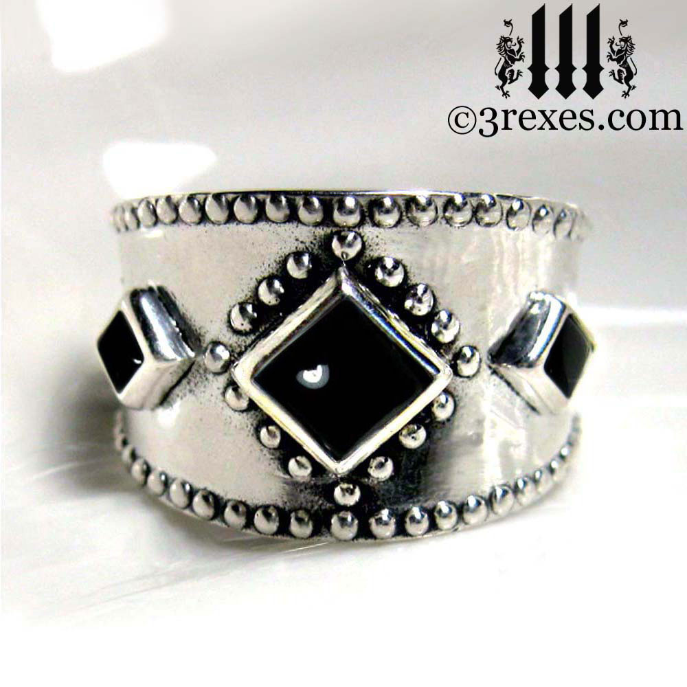 silver medieval ring with black onyx cabochons