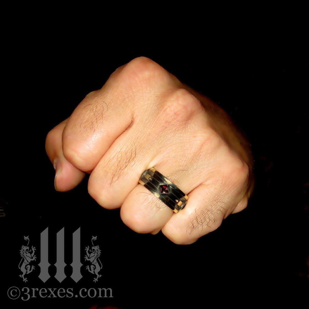 dark brass with garnet