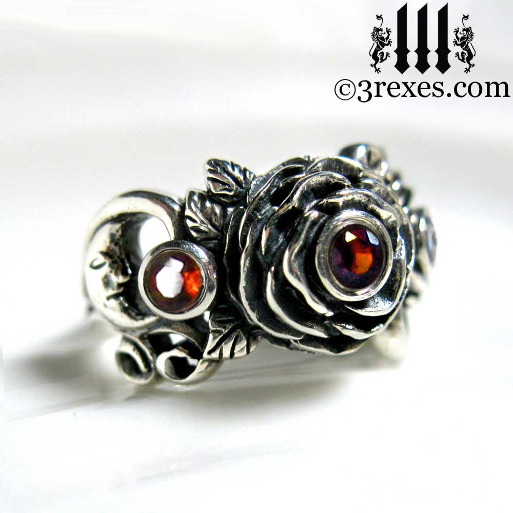 gothic silver rose moon spider ring with garnet faceted stone