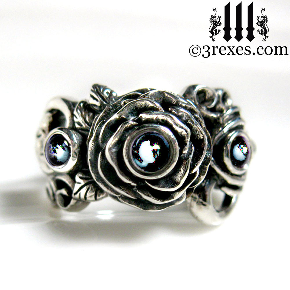 gothic silver rose moon spider ring with blue topaz cabochon stone