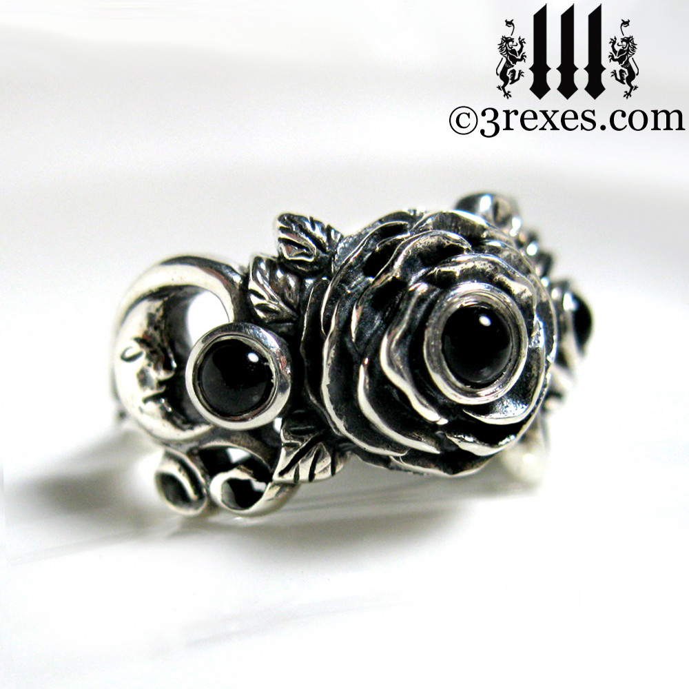 gothic silver rose moon spider ring with black onyx cabochon stone