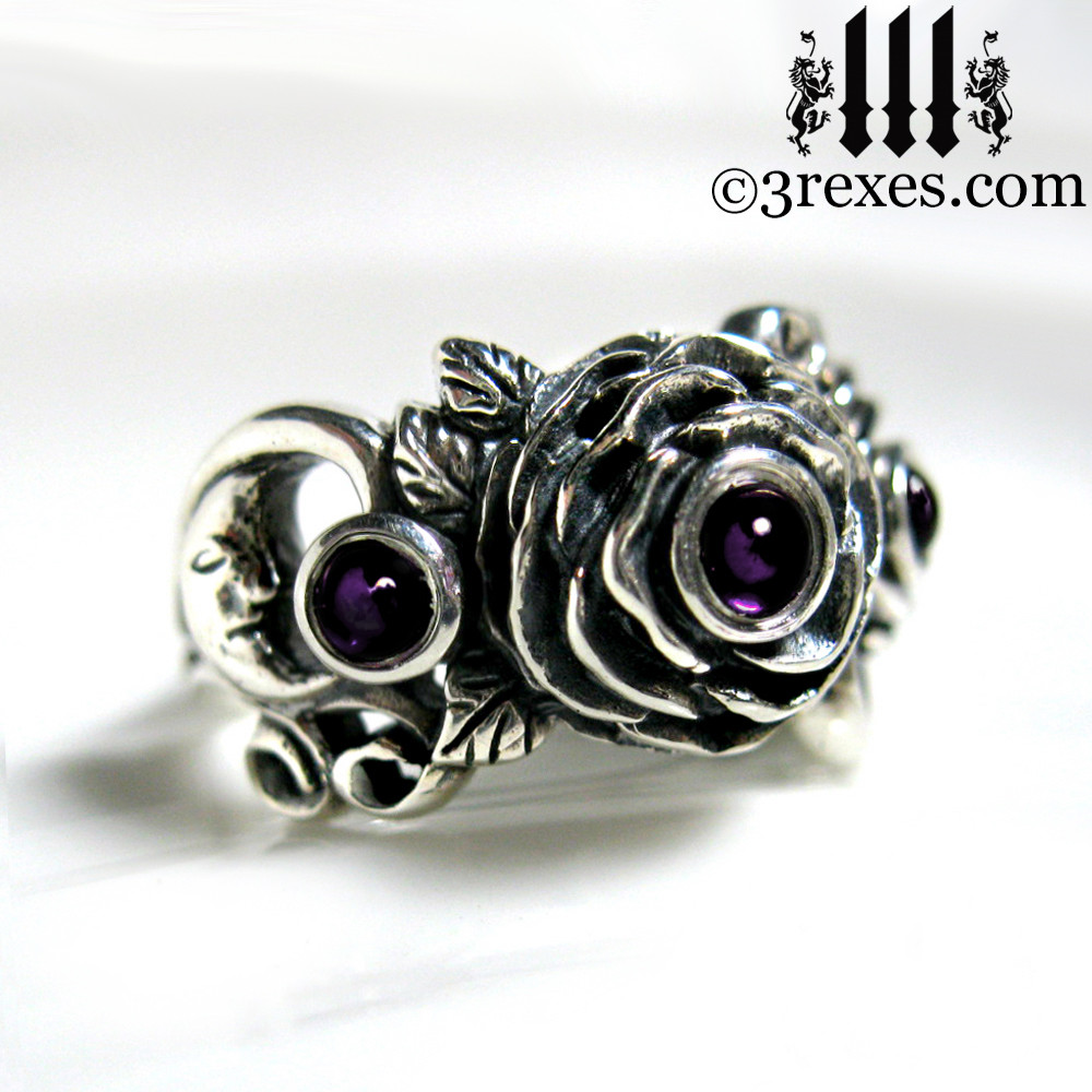 gothic silver rose moon spider ring with amethyst cabochon stone