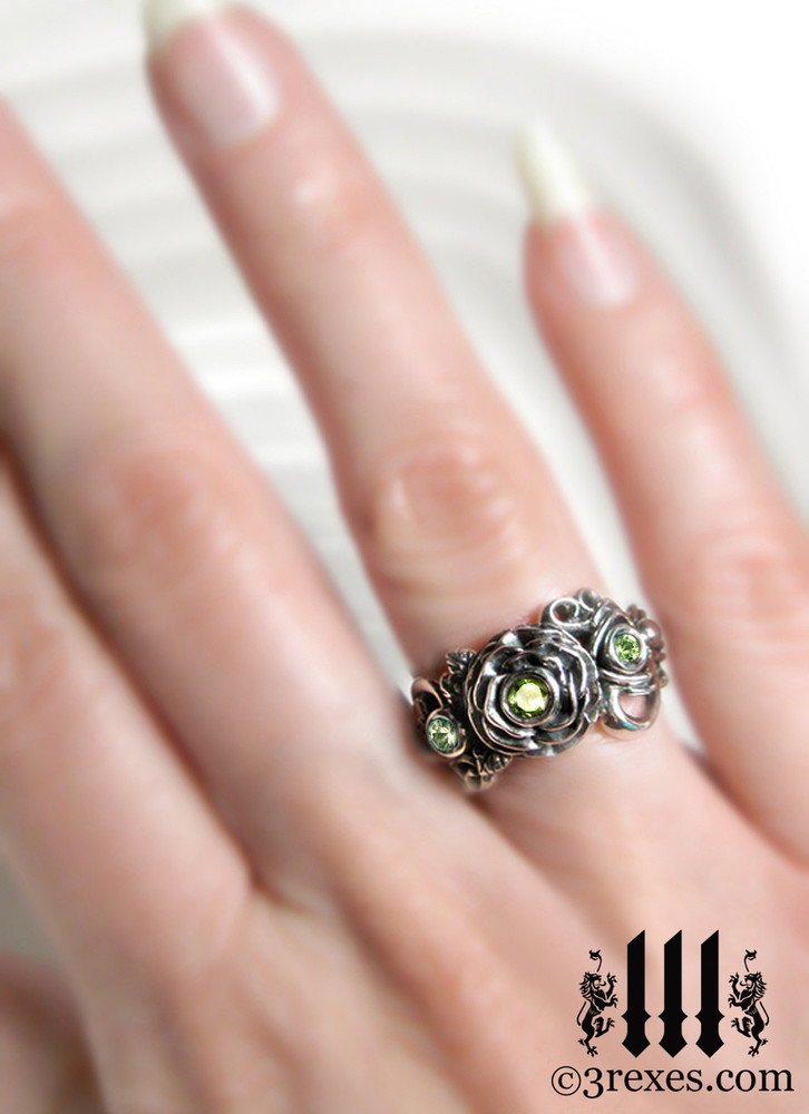 gothic silver rose moon spider ring model view