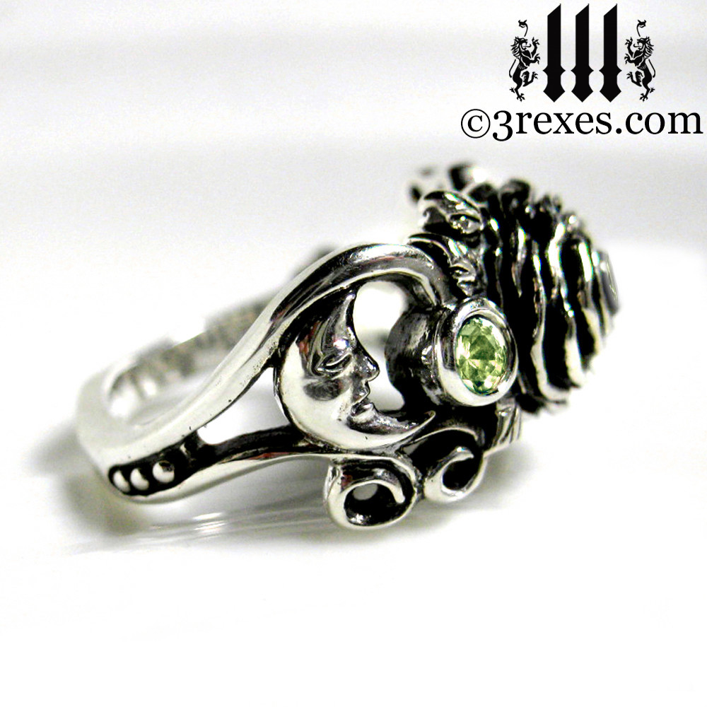gothic silver rose moon spider ring - moon view