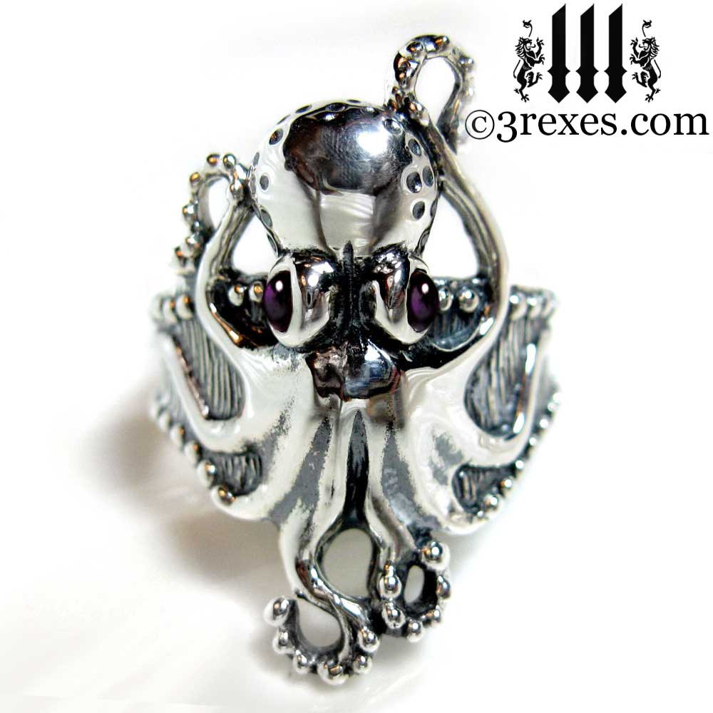 octopus ring with amethyst cabochon eyes