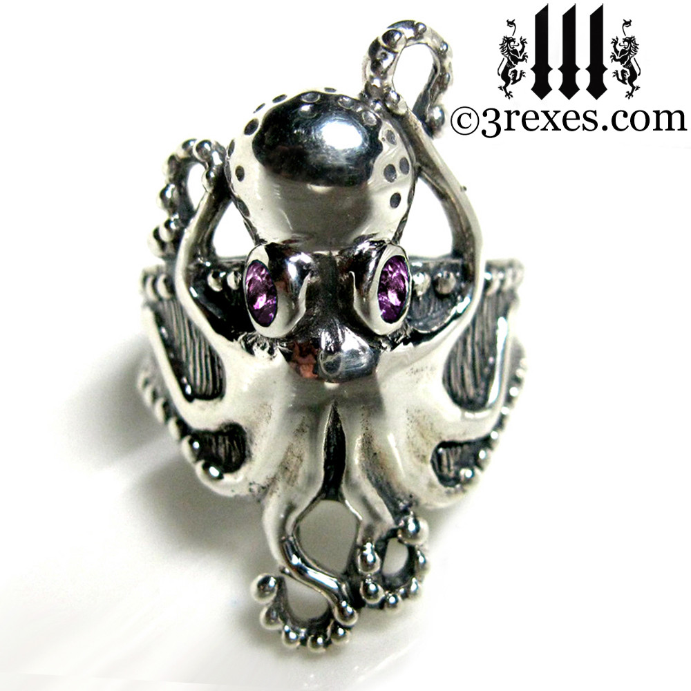 octopus ring with amethyst faceted eyes