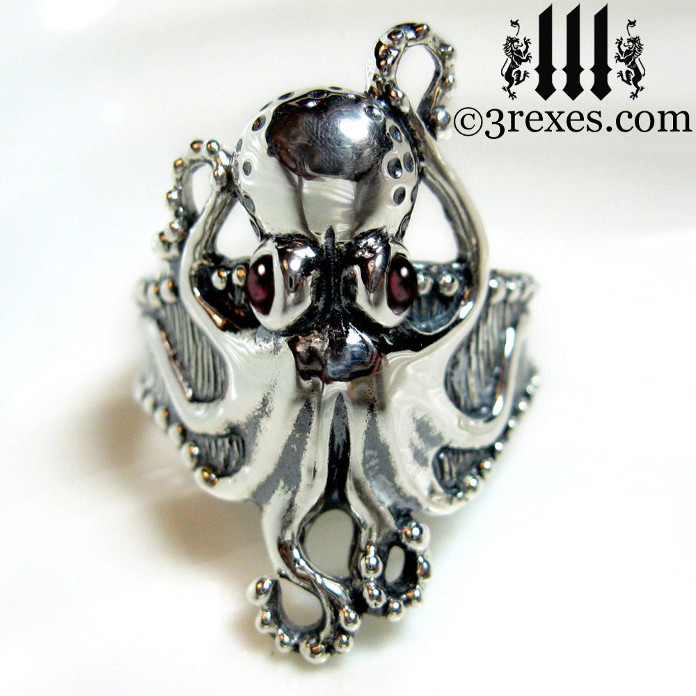 octopus ring with garnet cabochon eyes