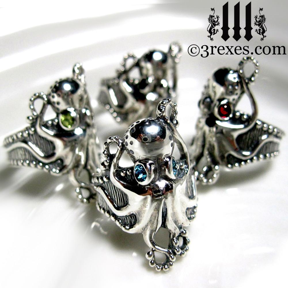 silver octopus dream rings