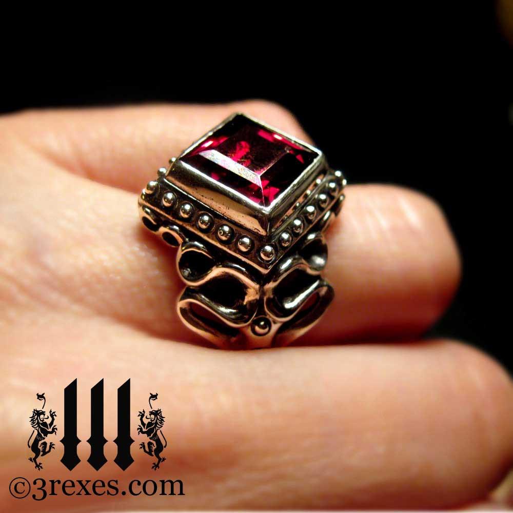 gothic wedding ring with garnet