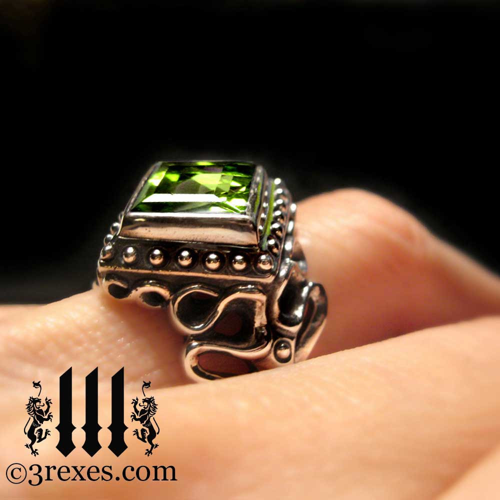 gothic wedding ring with green peridot