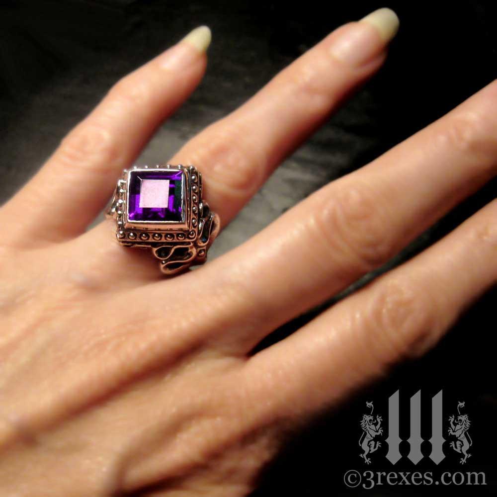 gothic wedding ring with amethyst