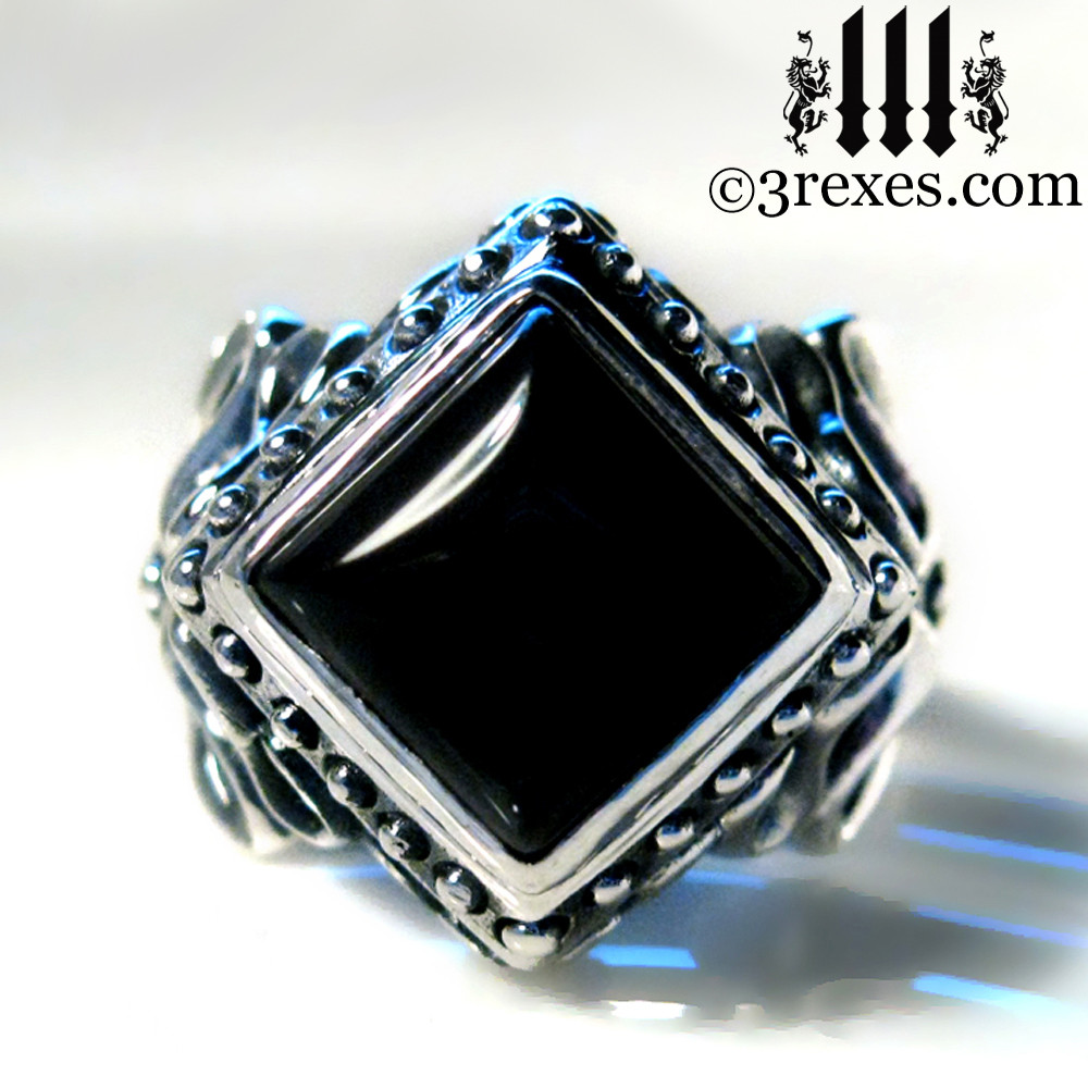 gothic wedding ring with black onyx cabochon