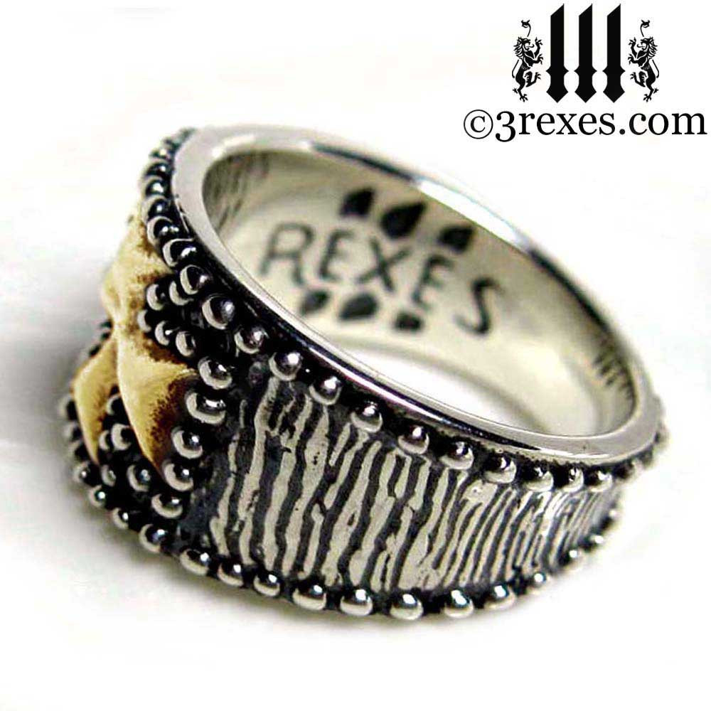 medieval iron cross ring .925 sterling silver with gold cross side view