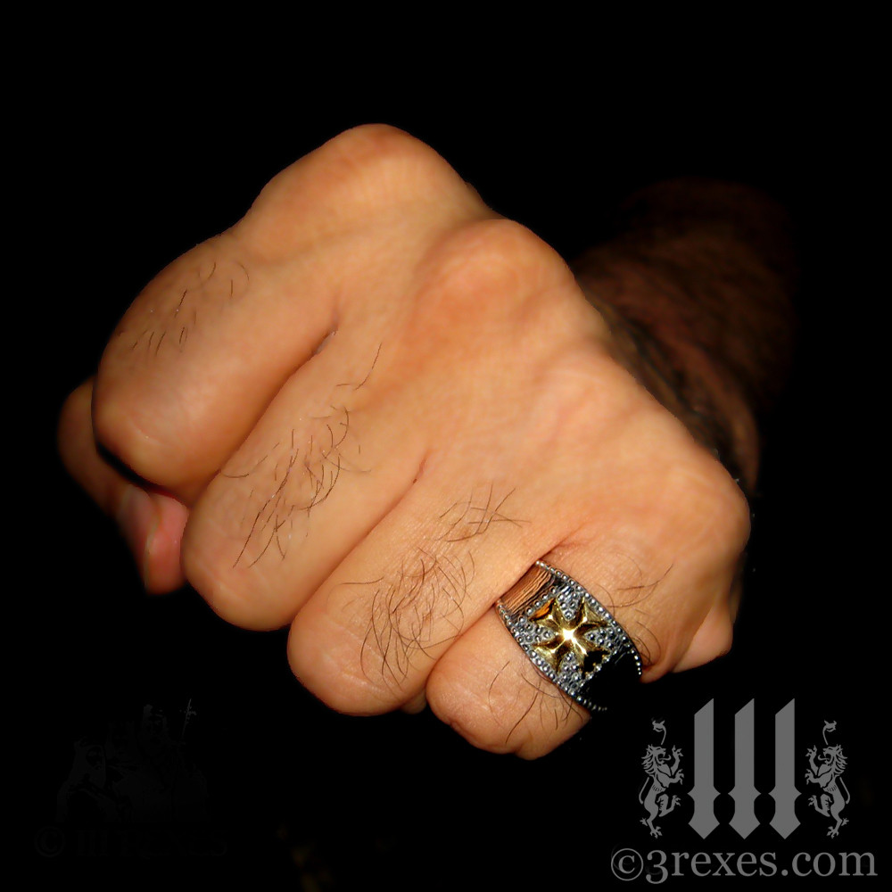 mens medieval iron cross ring