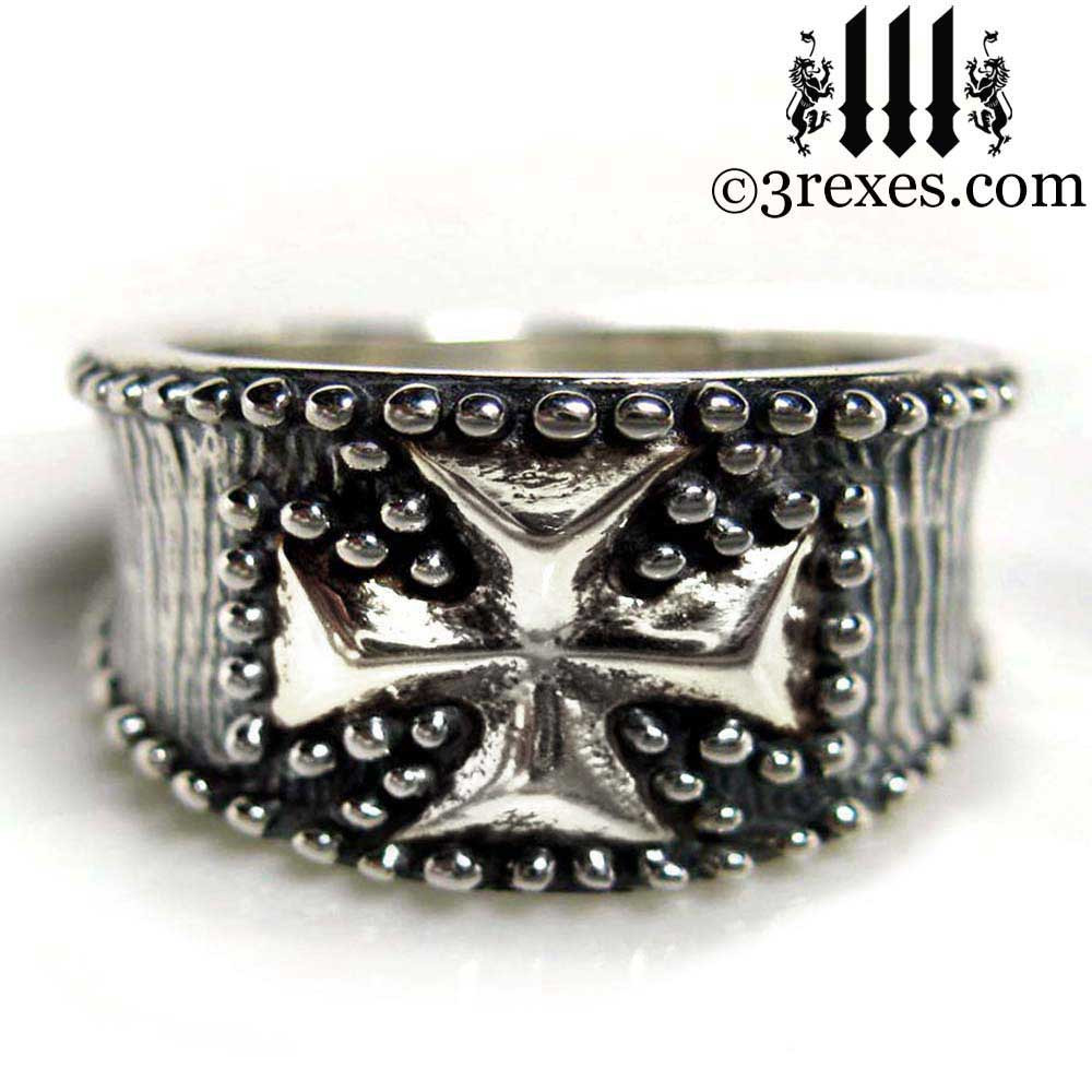 studded iron cross ring .925 sterling silver mens larger size