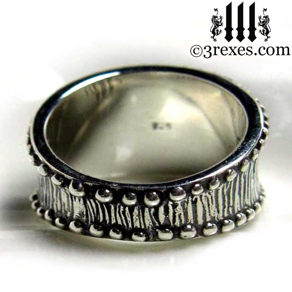 studded iron cross ring .925 sterling silver back detail