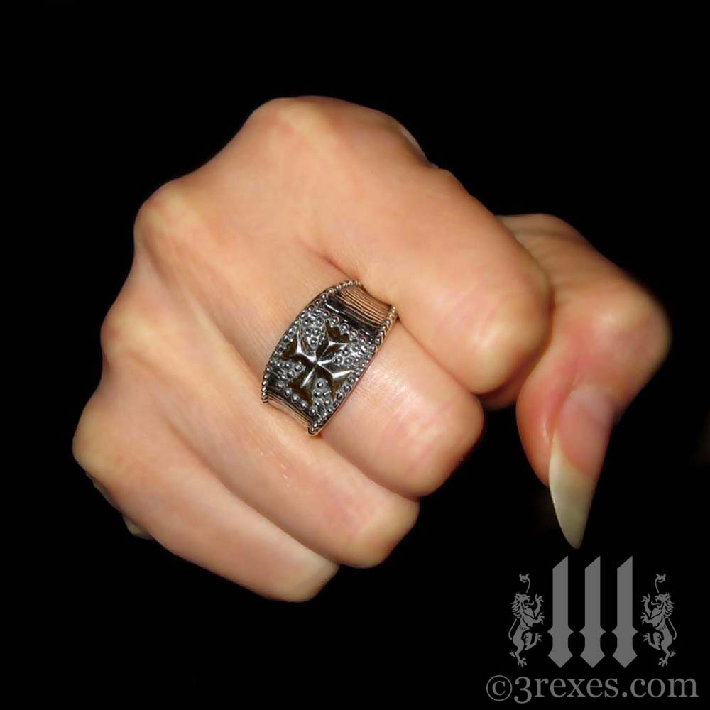 studded iron cross ring .925 sterling silver for wenches