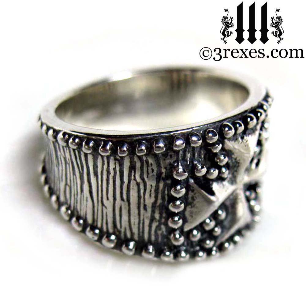 studded iron cross ring .925 sterling silver side detail