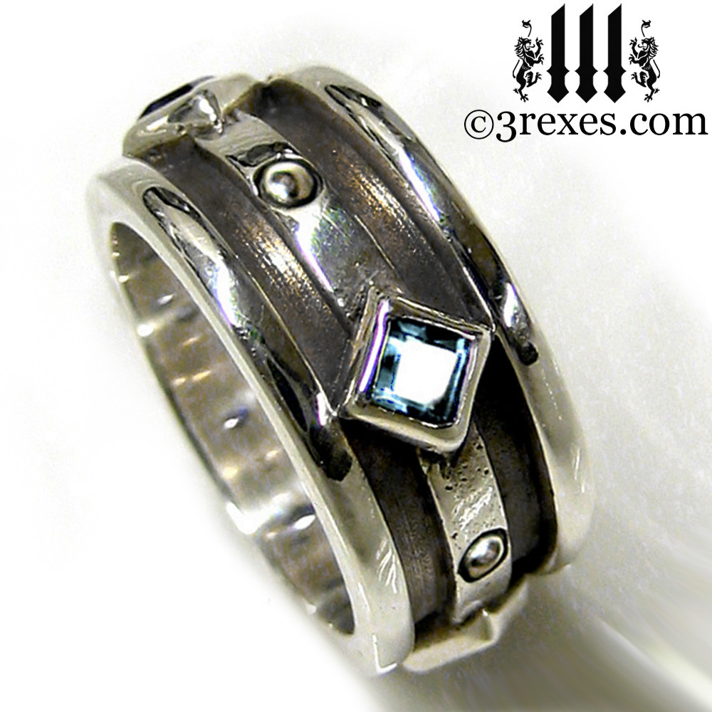 moorish gothic .925 sterling silver wedding ring with blue topaz