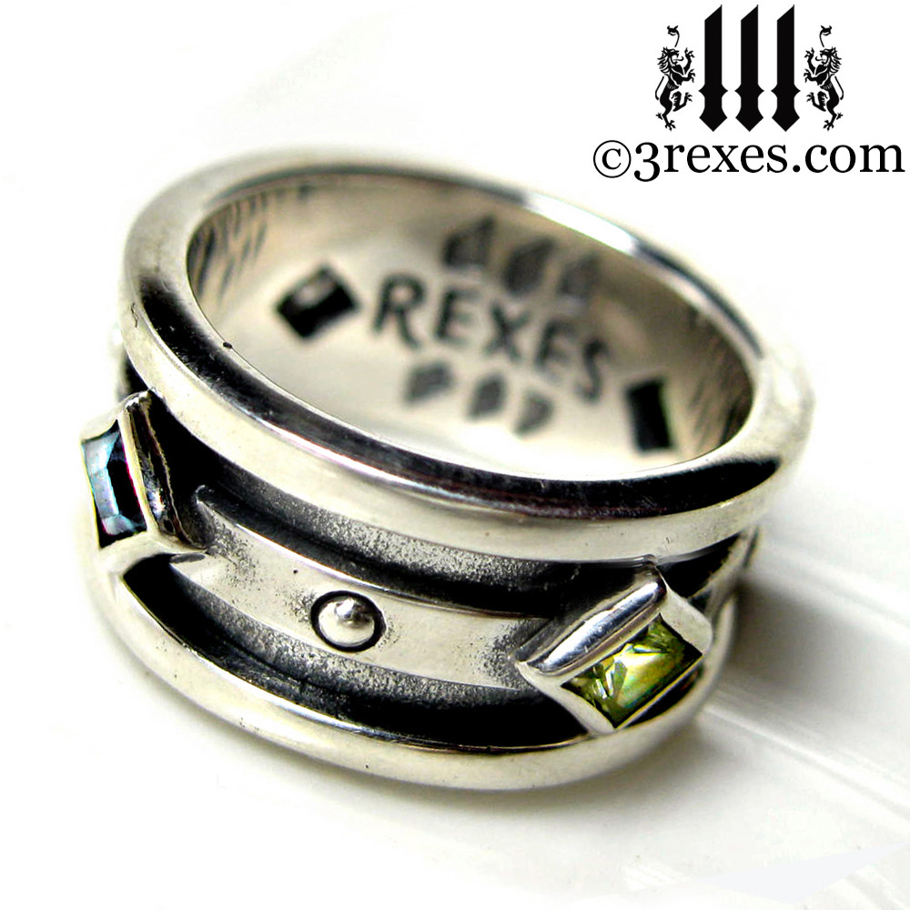 moorish gothic .925 sterling silver wedding ring with blue topaz & green peridot
