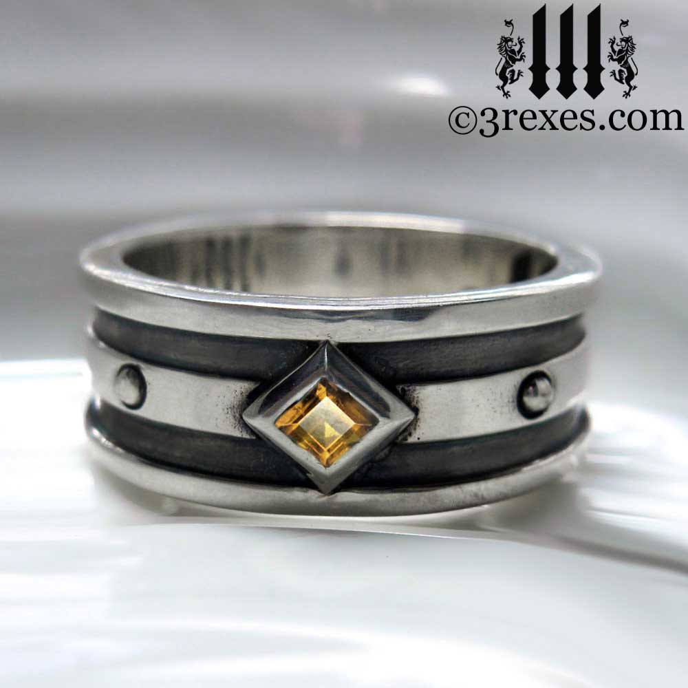 silver gothic wedding ring with citrine stone