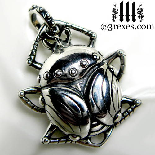 egyptian scarab necklace .925 sterling silver