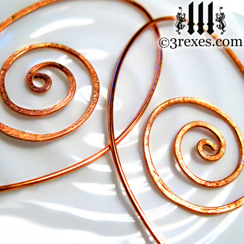 copper spiral earrings whimsical