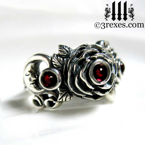 gothic silver rose moon spider ring with garnet cabochon stone