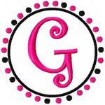 Pink & Black Dot Circle Monogram Set