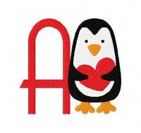 Penguin Heart Valentine Monogram Set