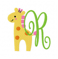 Giraffe Zoo Pinkie Monogram Set