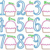 Cupcake Applique Birthday Numbers 1-9 Machine Embroidery Applique 5x7 Monogram Design Set