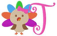 Little Miss Turkey 5x7 Thanksgiving Monogram Set