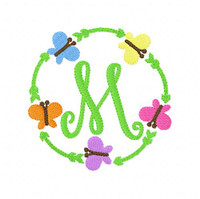 Garden Butterfly Circle Spring Monogram Set