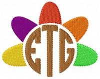 Turkey Circle Thanksgiving Three Letter Monogram Machine Embroidery Font Design Set