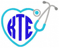 Stethoscope Nurse Circle Monogram Embroidery Set